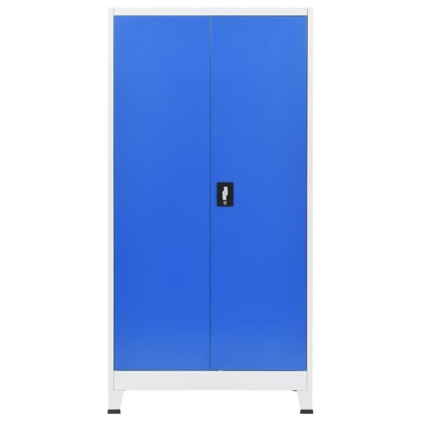 Office Cabinet Metal 90x40x180 cm Grey and Blue 5