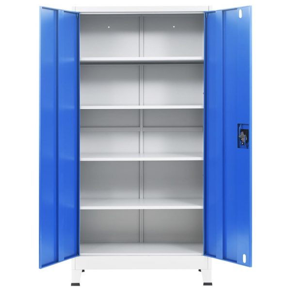 Office Cabinet Metal 90x40x180 cm Grey and Blue 6