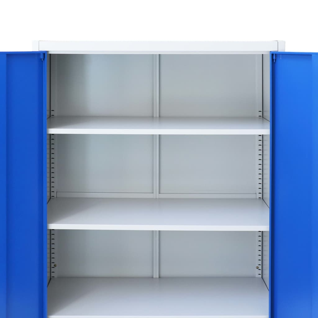 Office Cabinet Metal 90x40x180 cm Grey and Blue 7