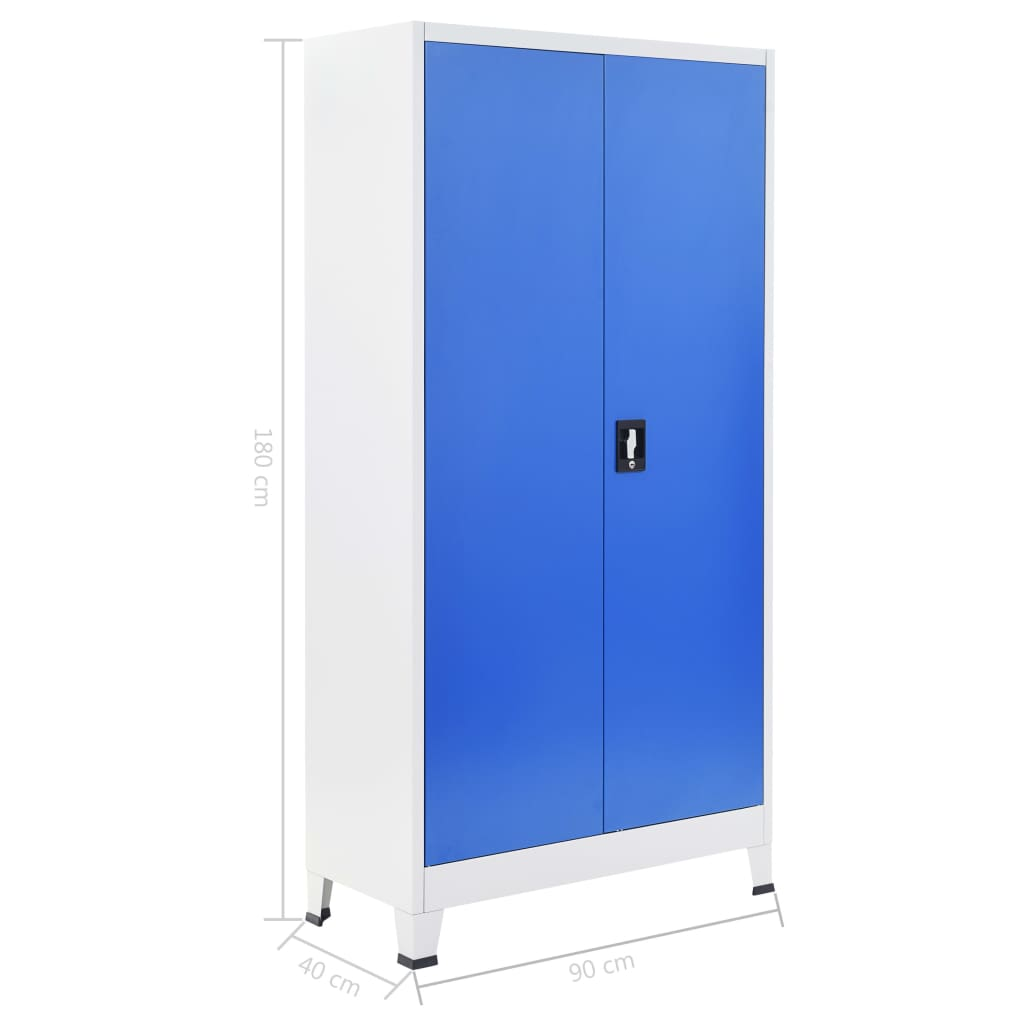 Office Cabinet Metal 90x40x180 cm Grey and Blue 8
