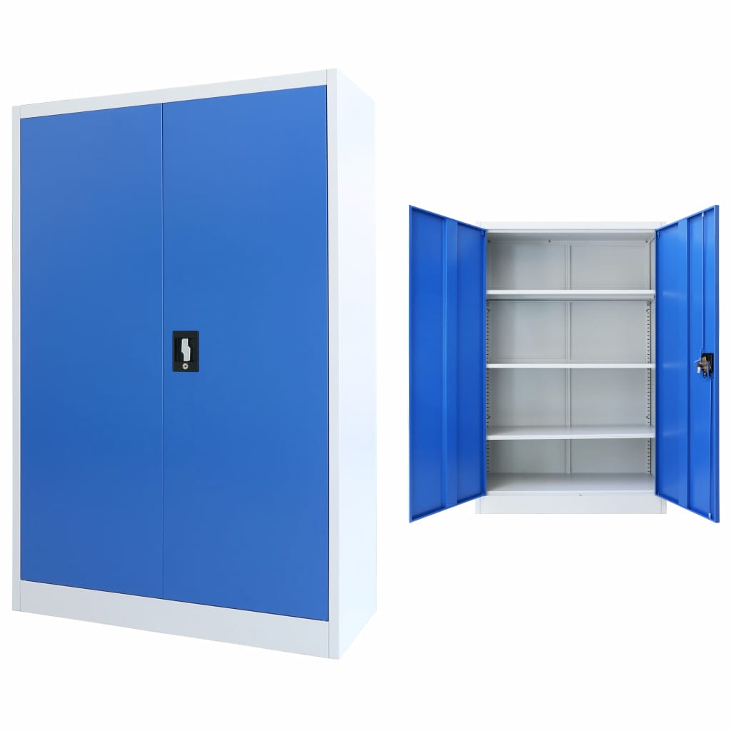 Office Cabinet Metal 90x40x140 cm Grey and Blue 1