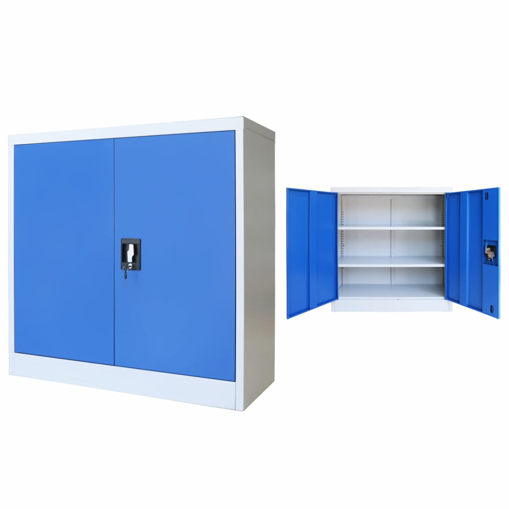 Office Cabinet Metal  90x40x90 cm Grey and Blue 1