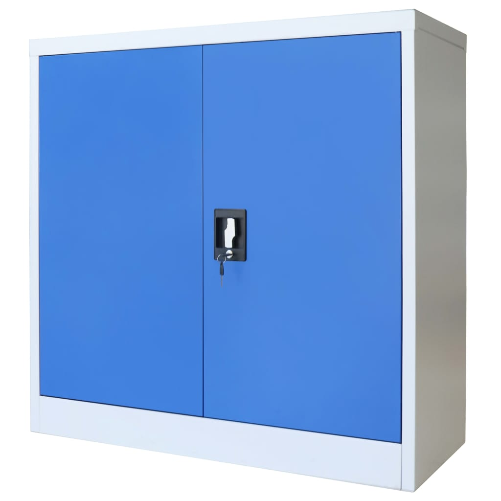 Office Cabinet Metal  90x40x90 cm Grey and Blue 3