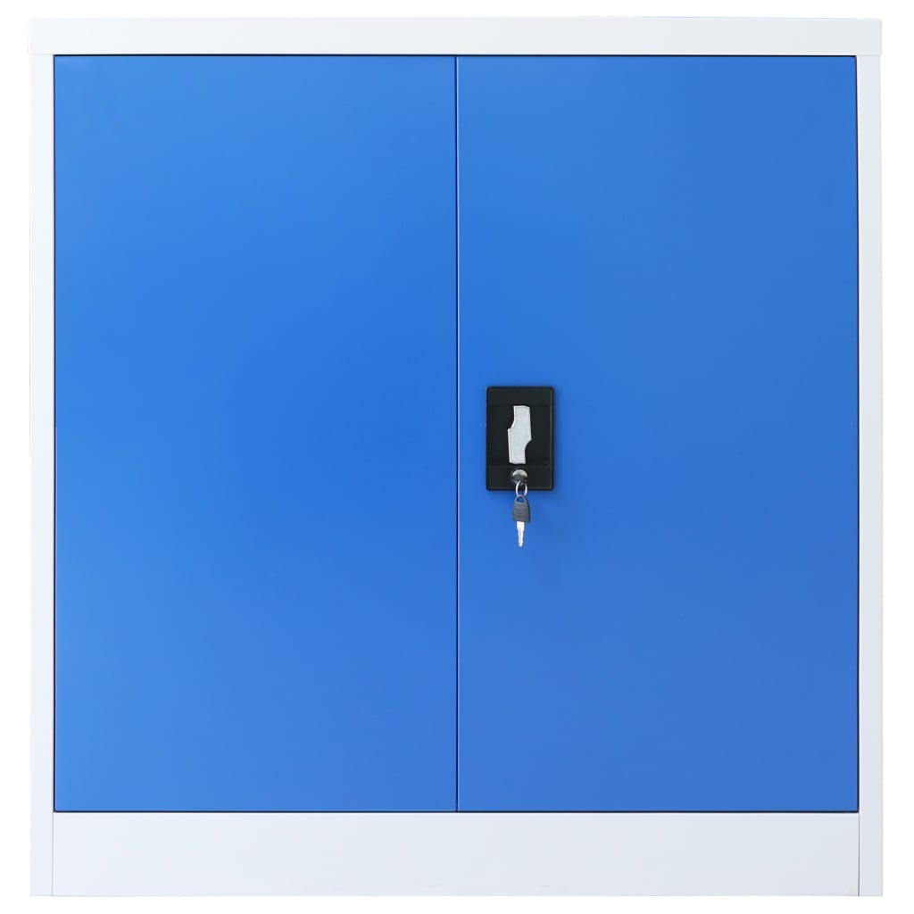 Office Cabinet Metal  90x40x90 cm Grey and Blue 4