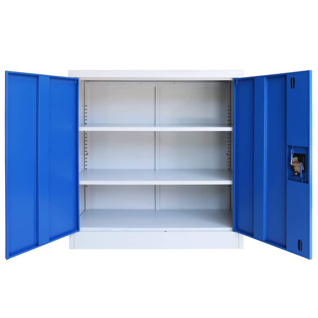 Office Cabinet Metal  90x40x90 cm Grey and Blue 5