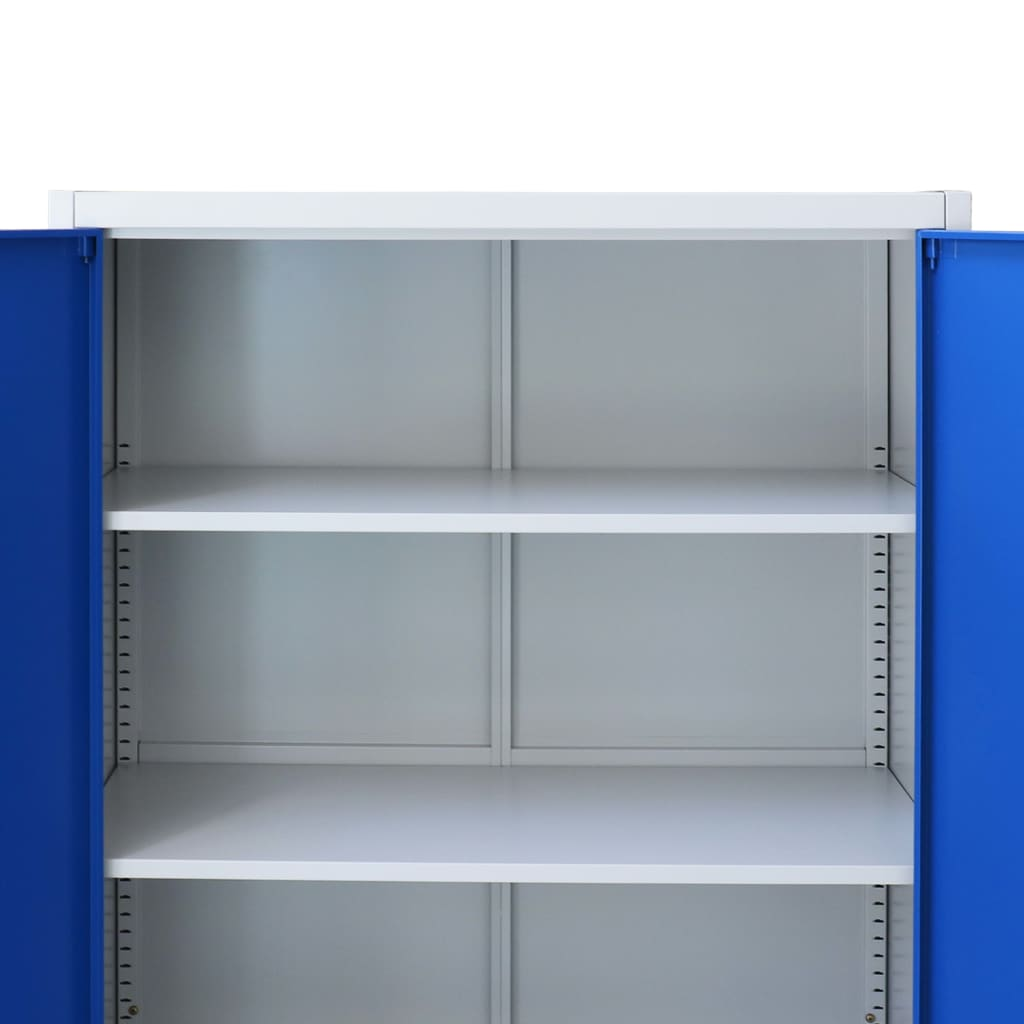 Office Cabinet Metal  90x40x90 cm Grey and Blue 6