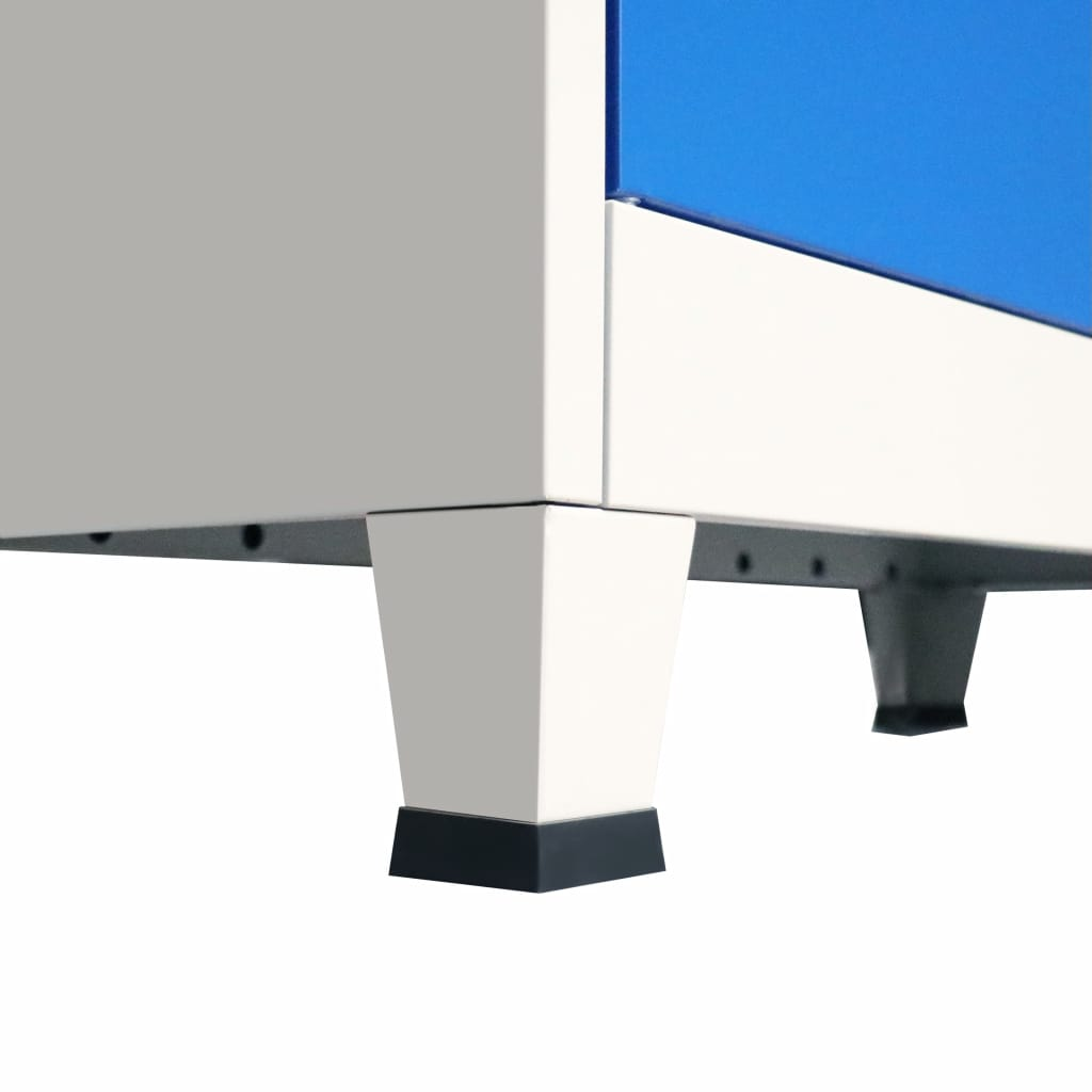 Office Cabinet Metal  90x40x90 cm Grey and Blue 7