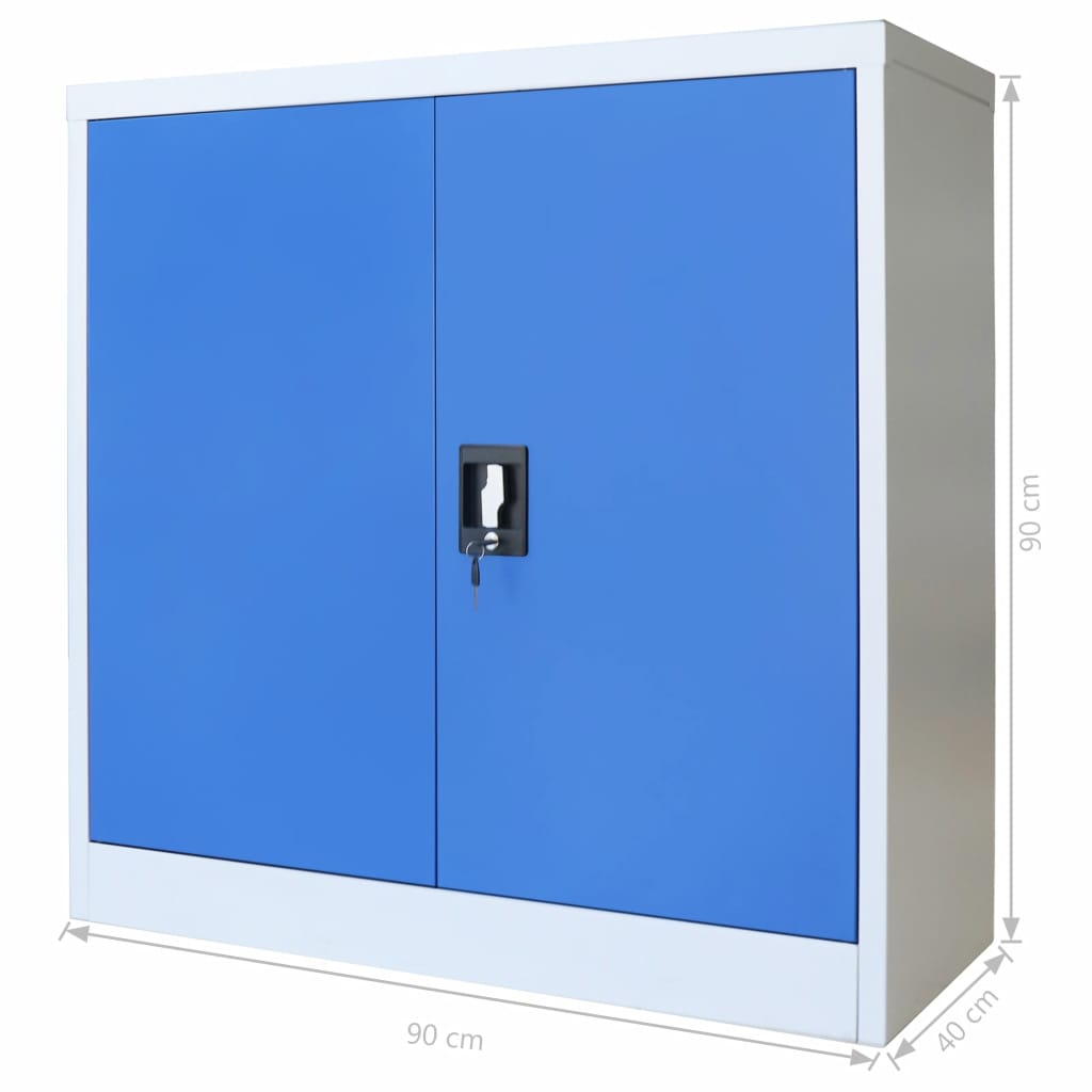 Office Cabinet Metal  90x40x90 cm Grey and Blue 8