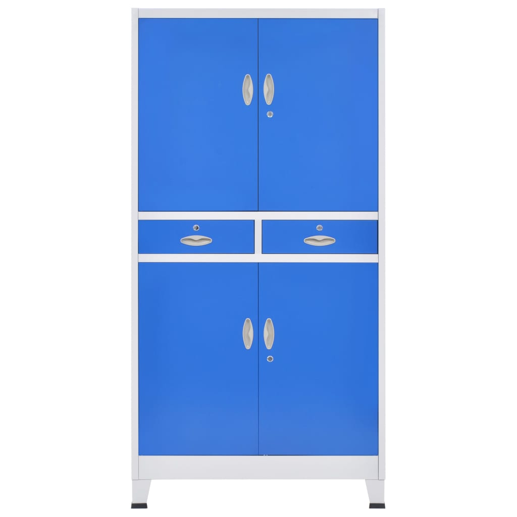 Office Cabinet with 4 Doors Metal 90x40x180 cm Grey and Blue 5