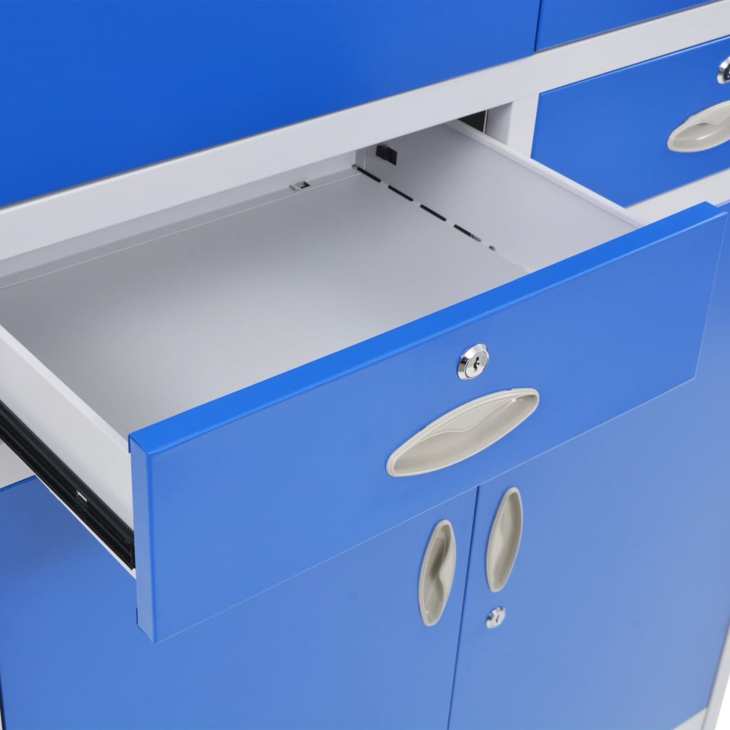 Office Cabinet with 4 Doors Metal 90x40x180 cm Grey and Blue 8