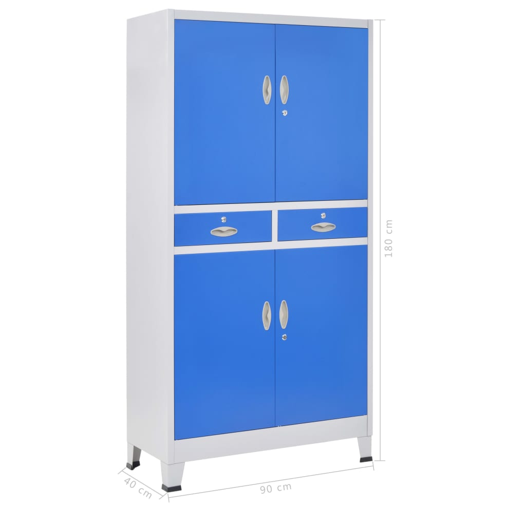 Office Cabinet with 4 Doors Metal 90x40x180 cm Grey and Blue 10