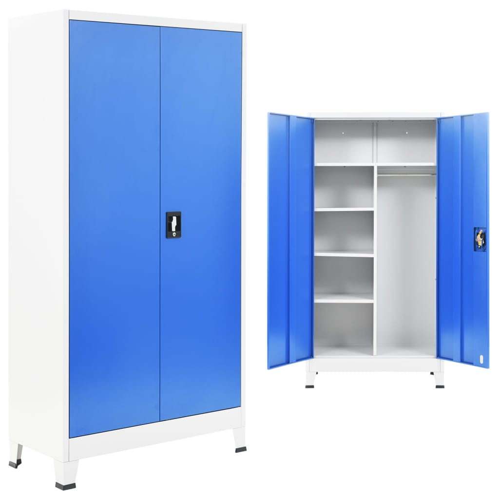 Locker Cabinet with 2 Doors Metal 90x40x180 cm Grey and Blue 1