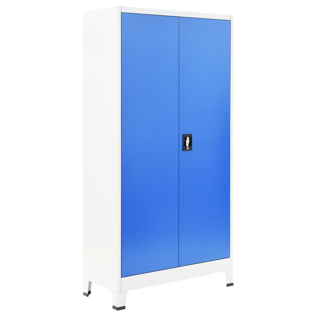 Locker Cabinet with 2 Doors Metal 90x40x180 cm Grey and Blue 3