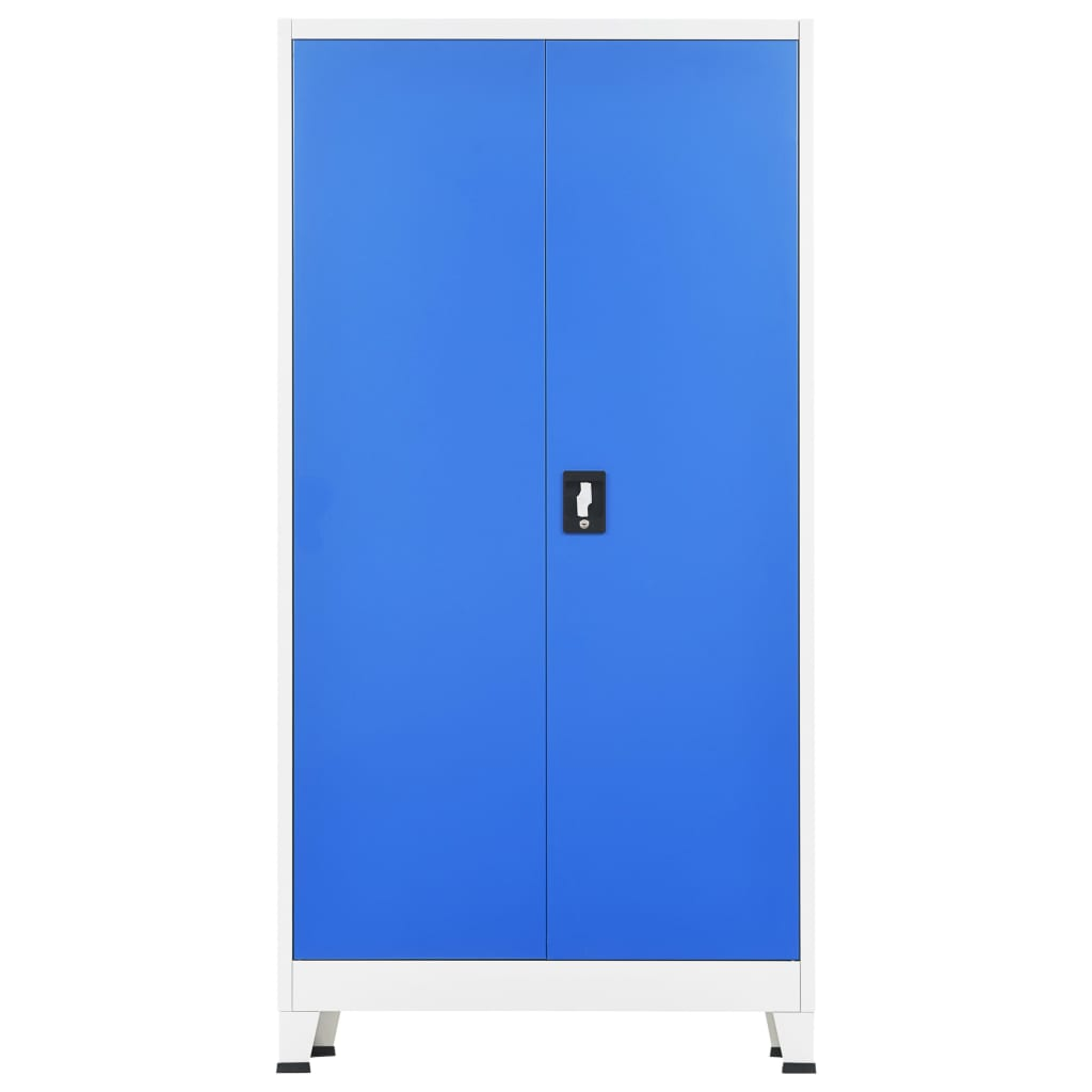 Locker Cabinet with 2 Doors Metal 90x40x180 cm Grey and Blue 4