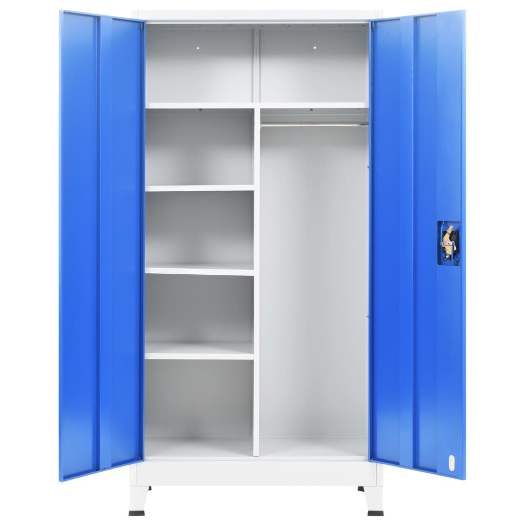 Locker Cabinet with 2 Doors Metal 90x40x180 cm Grey and Blue 5
