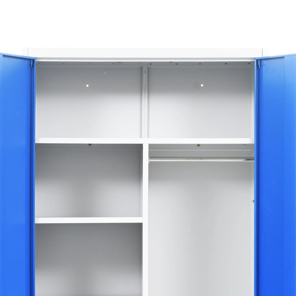 Locker Cabinet with 2 Doors Metal 90x40x180 cm Grey and Blue 6