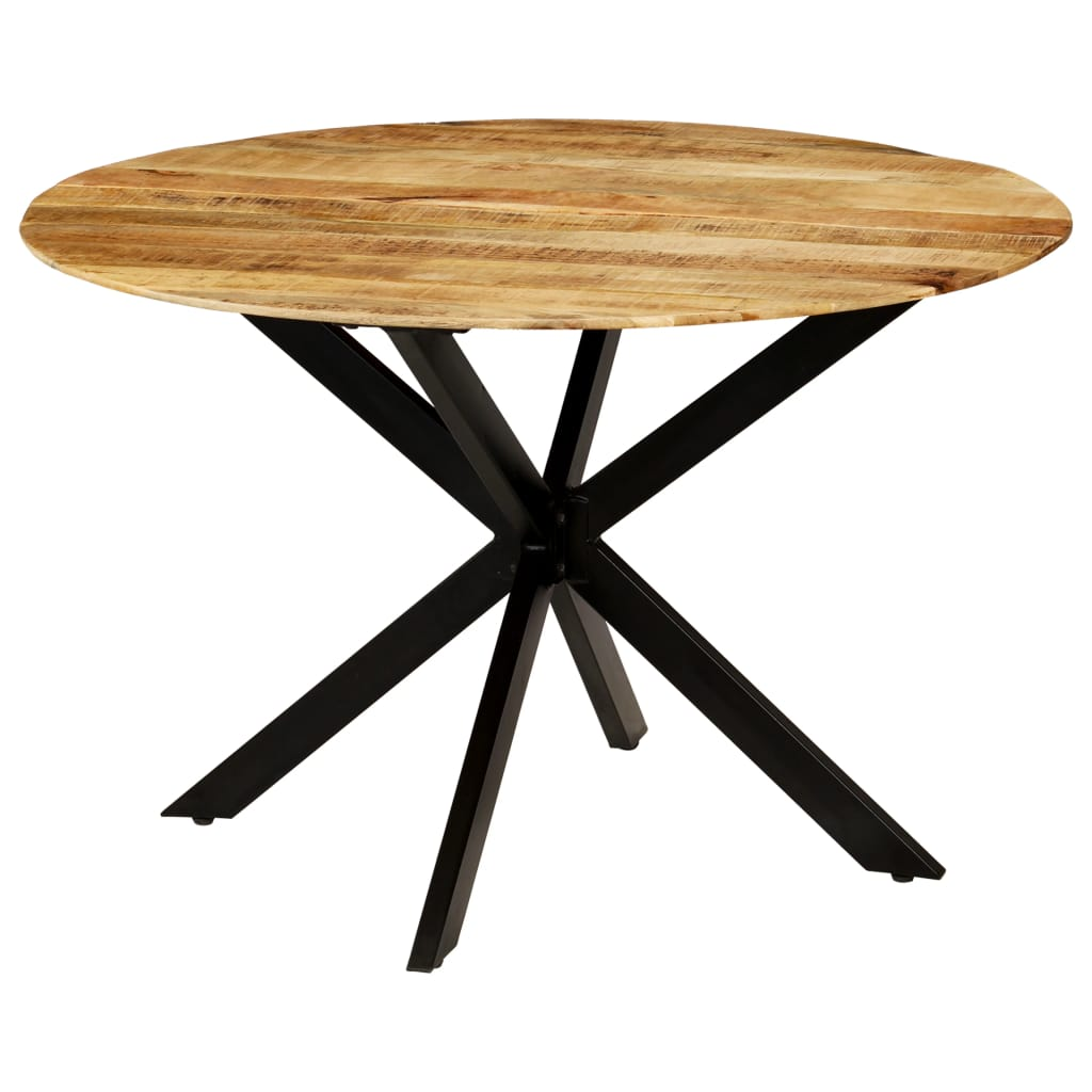 Dining Table Solid Rough Mango Wood and Steel 120×77 cm 1