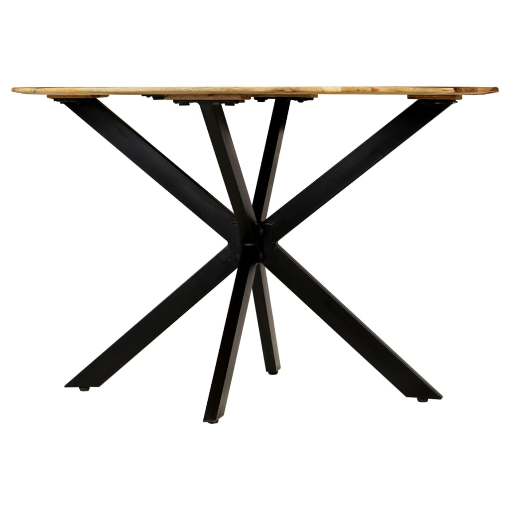 Dining Table Solid Rough Mango Wood and Steel 120×77 cm 3