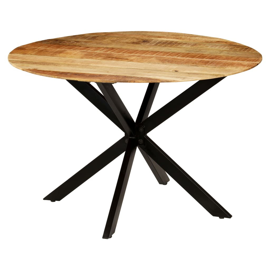 Dining Table Solid Rough Mango Wood and Steel 120×77 cm 6