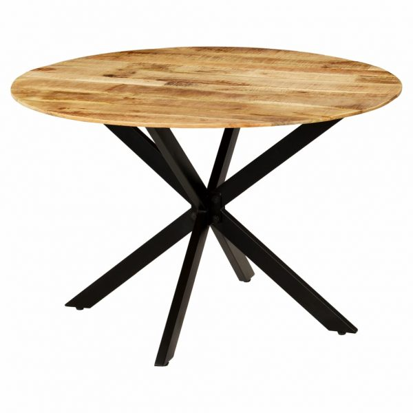 Dining Table Solid Rough Mango Wood and Steel 120×77 cm 7