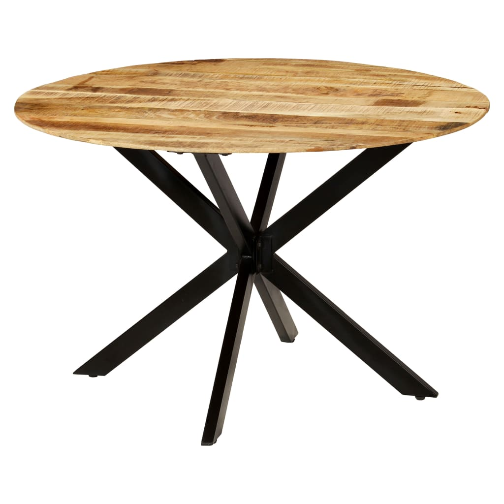 Dining Table Solid Rough Mango Wood and Steel 120×77 cm 8