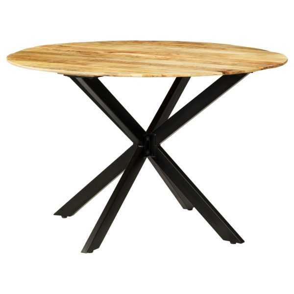 Dining Table Solid Rough Mango Wood and Steel 120×77 cm 10