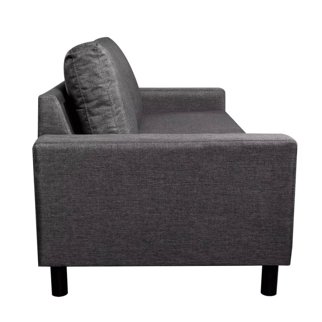 5-Person Sofa Set 2 Pieces Dark Grey Fabric 9