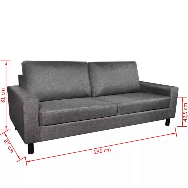 5-Person Sofa Set 2 Pieces Dark Grey Fabric 10
