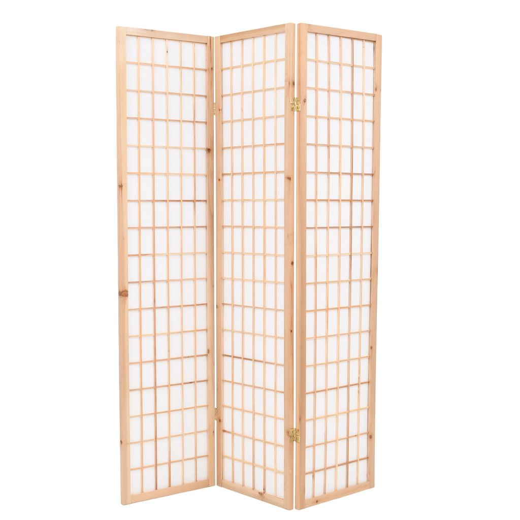 Folding 3-Panel Room Divider Japanese Style 120x170 cm Natural