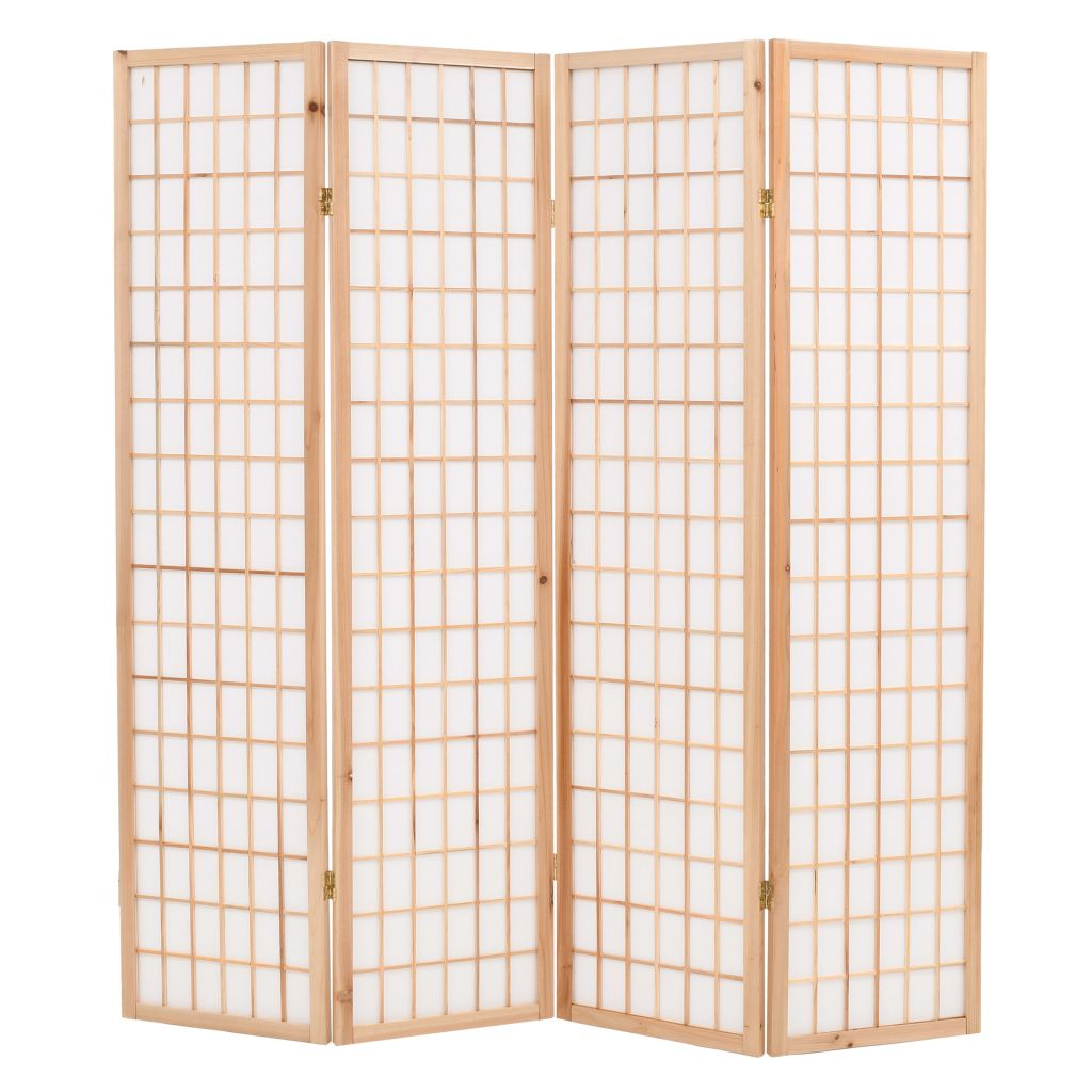 Folding 4-Panel Room Divider Japanese Style 160×170 cm Natural 1