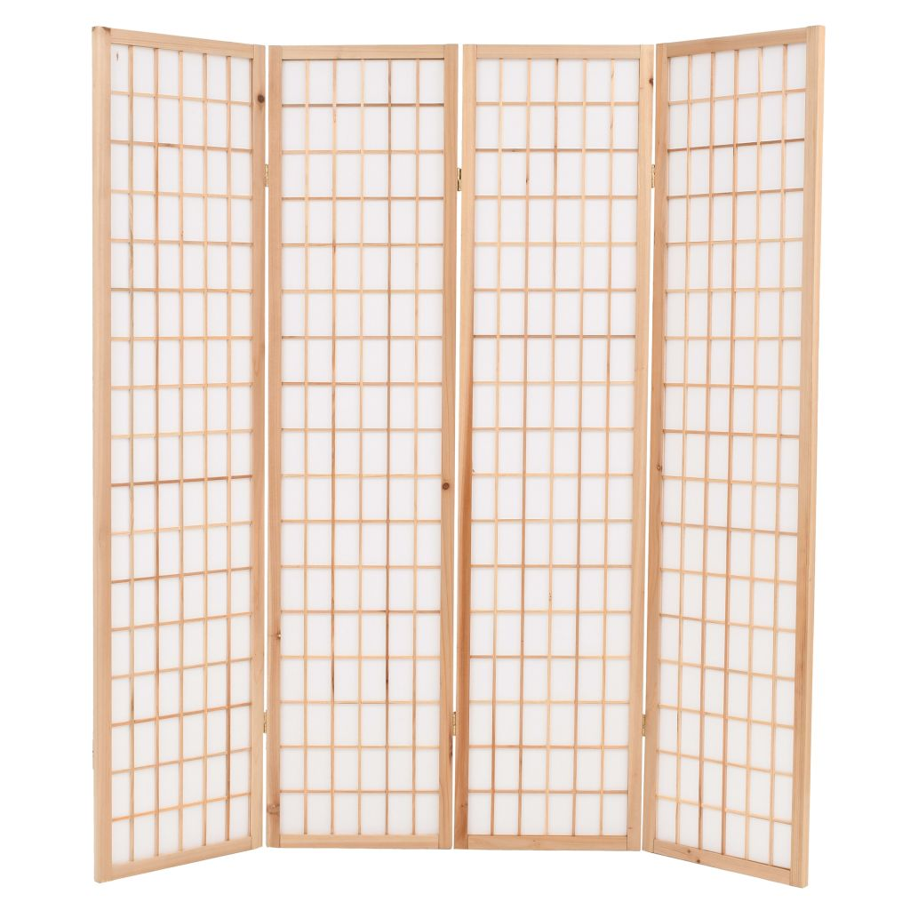 Folding 4-Panel Room Divider Japanese Style 160×170 cm Natural 3
