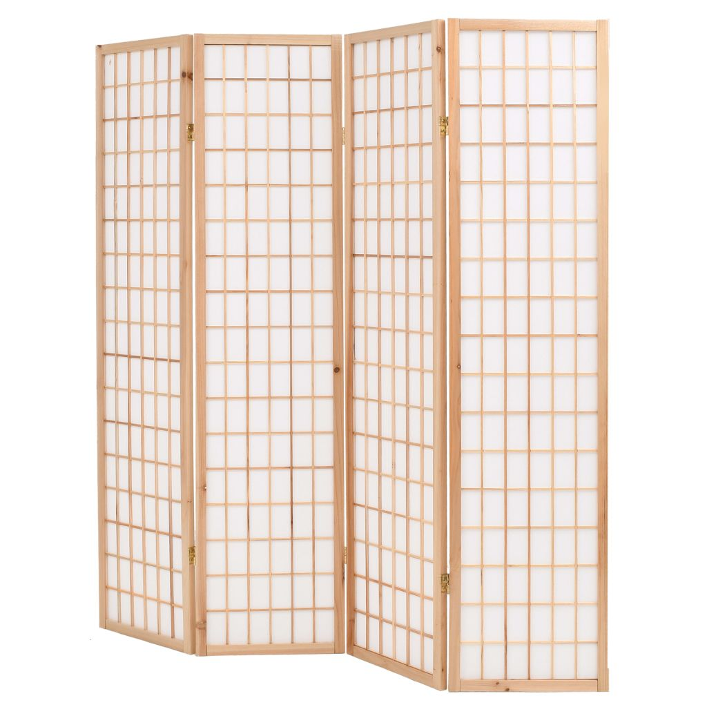 Folding 4-Panel Room Divider Japanese Style 160×170 cm Natural 4