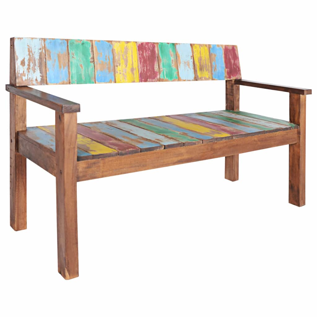 Bench Solid Reclaimed Boat Wood 125x51x80 cm 1