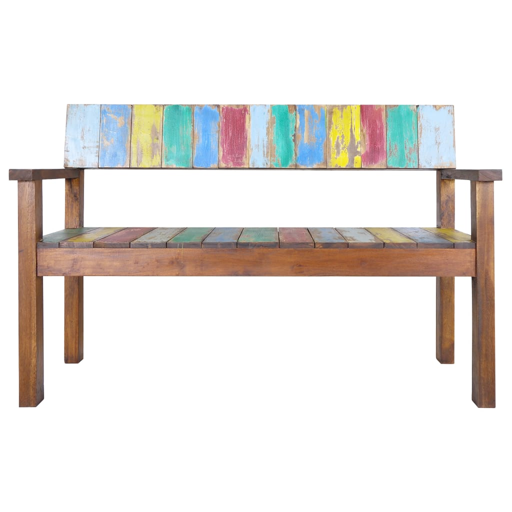 Bench Solid Reclaimed Boat Wood 125x51x80 cm 2