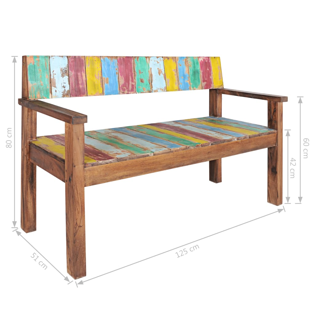 Bench Solid Reclaimed Boat Wood 125x51x80 cm 11