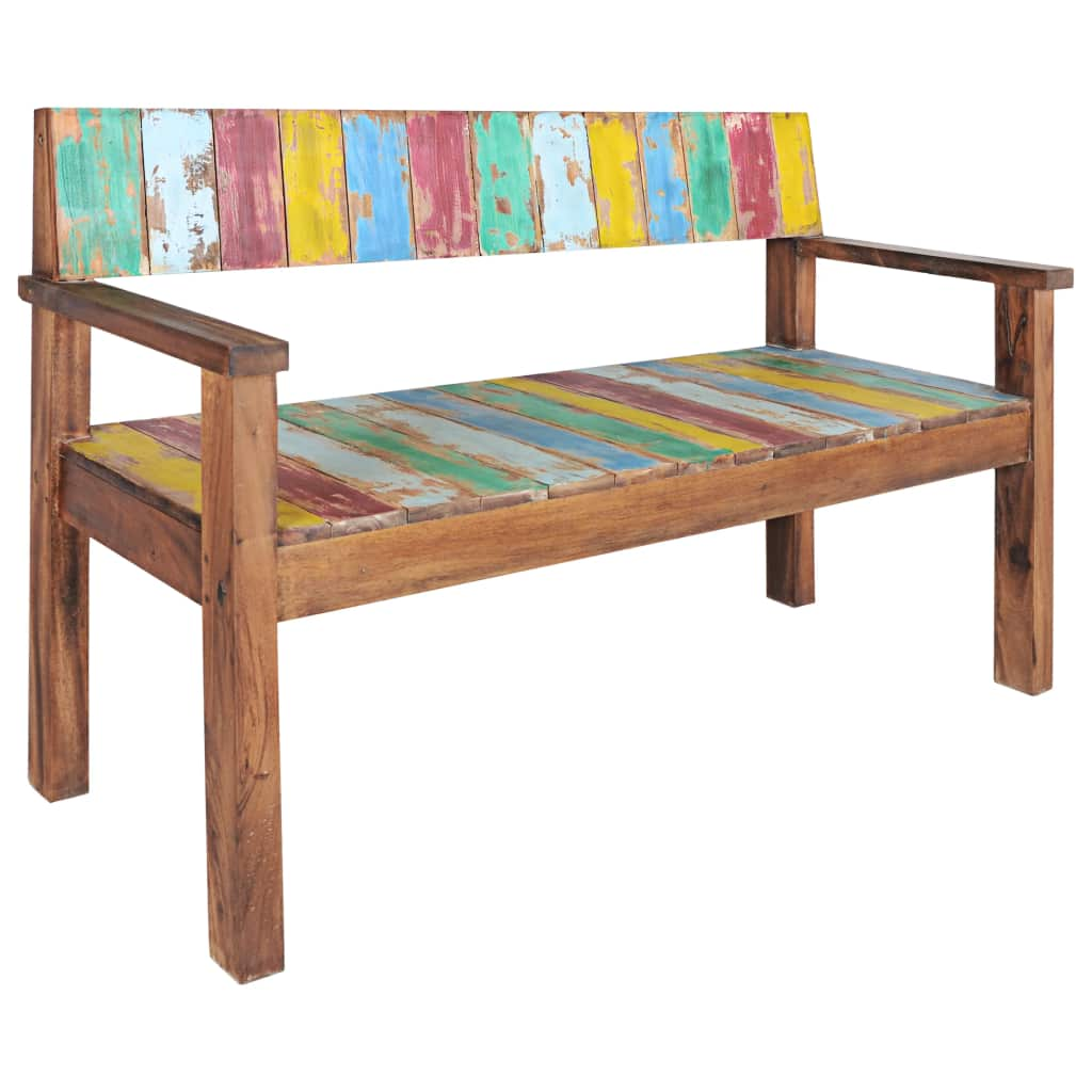 Bench Solid Reclaimed Boat Wood 125x51x80 cm 7