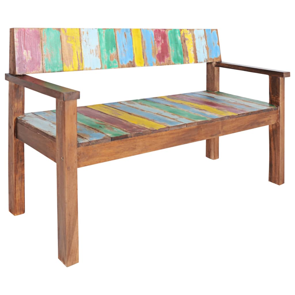 Bench Solid Reclaimed Boat Wood 125x51x80 cm 8