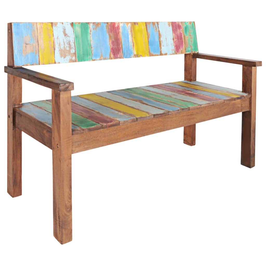 Bench Solid Reclaimed Boat Wood 125x51x80 cm 9