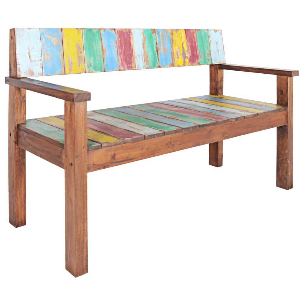 Bench Solid Reclaimed Boat Wood 125x51x80 cm 10
