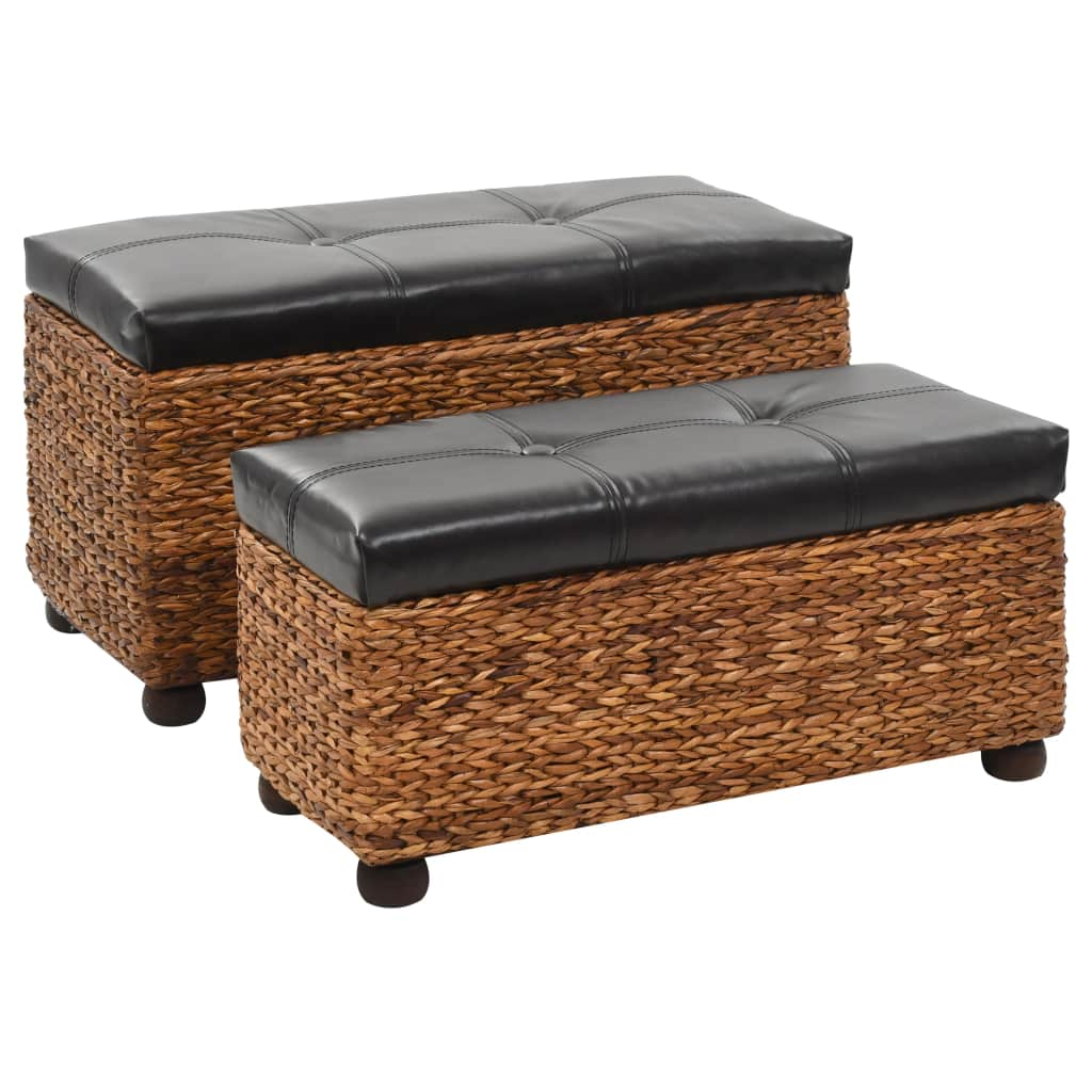 Bench Set 2 Pieces Seagrass Brown 1