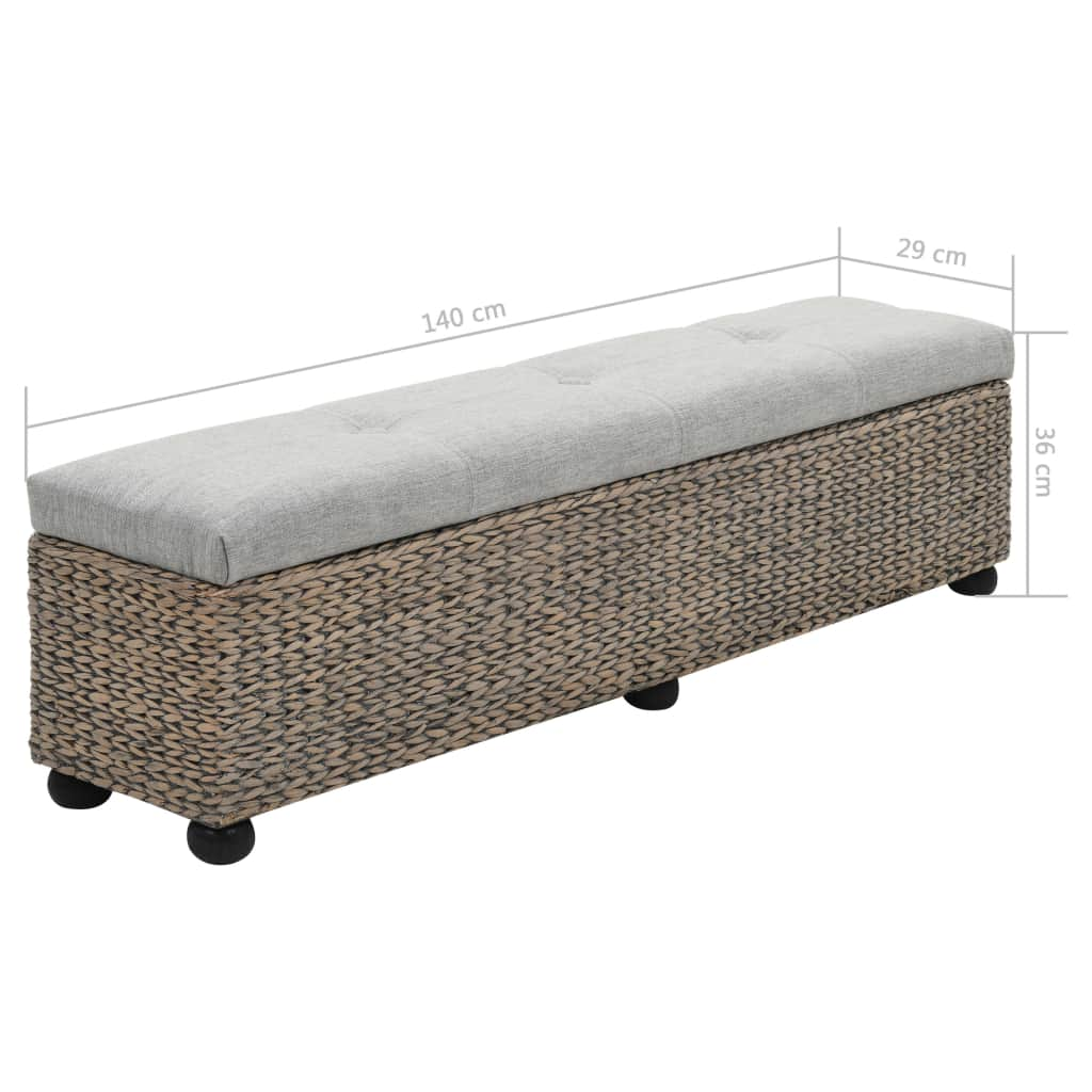 Bench Seagrass 140x29x36 cm Grey 9