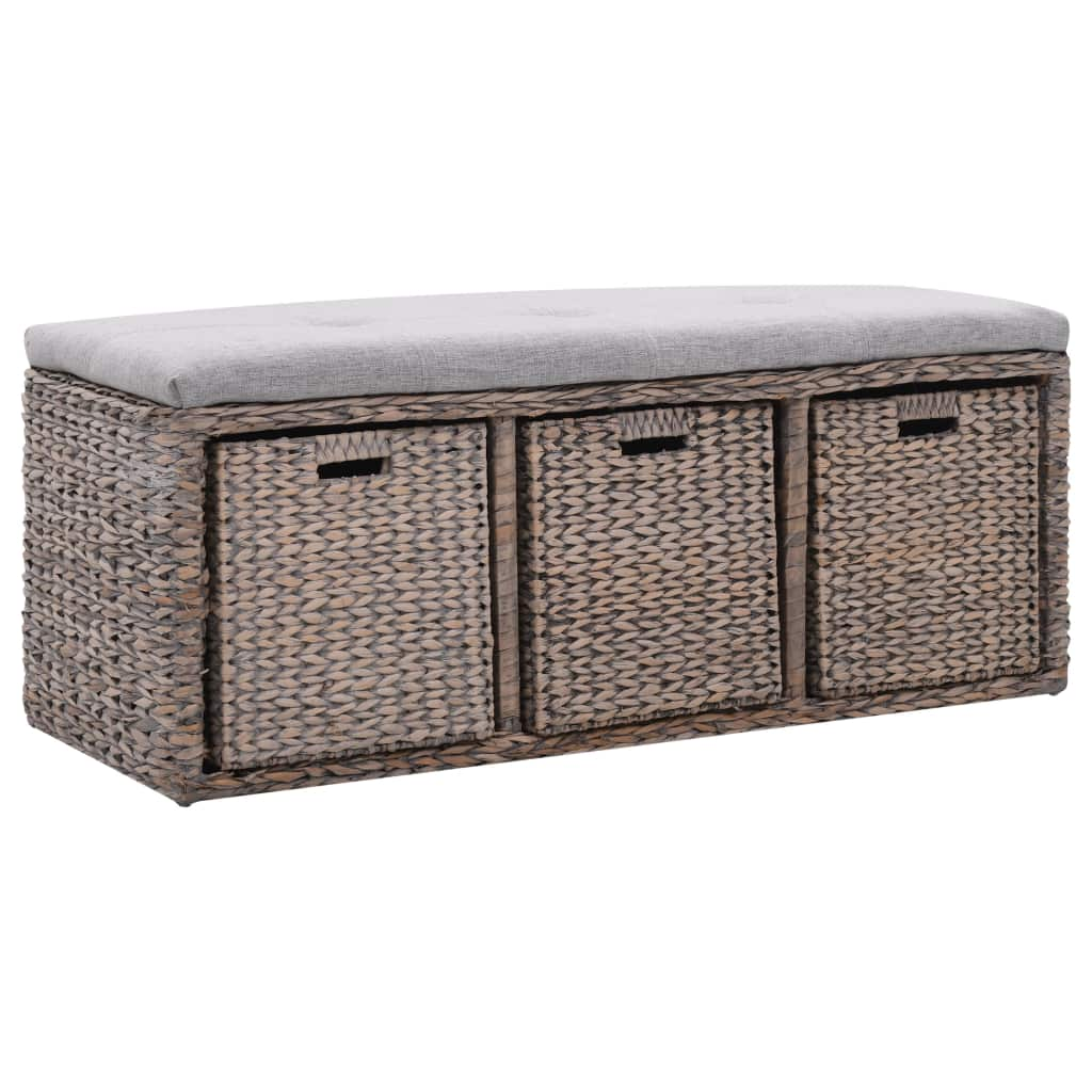Bench with 3 Baskets Seagrass 105x40x42 cm Grey 1
