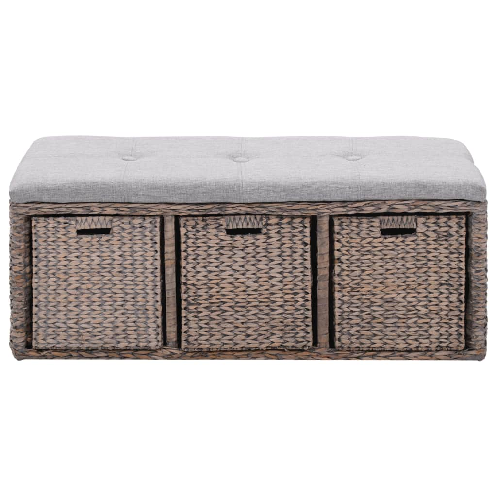 Bench with 3 Baskets Seagrass 105x40x42 cm Grey 2