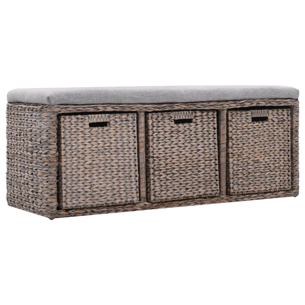 Bench with 3 Baskets Seagrass 105x40x42 cm Grey 3
