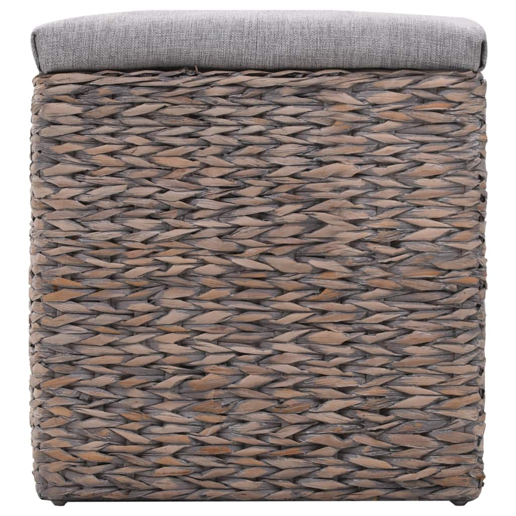 Bench with 3 Baskets Seagrass 105x40x42 cm Grey 4