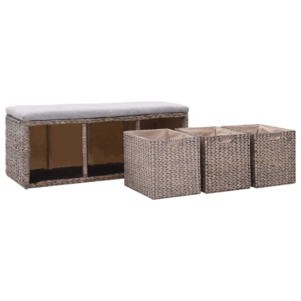 Bench with 3 Baskets Seagrass 105x40x42 cm Grey 6