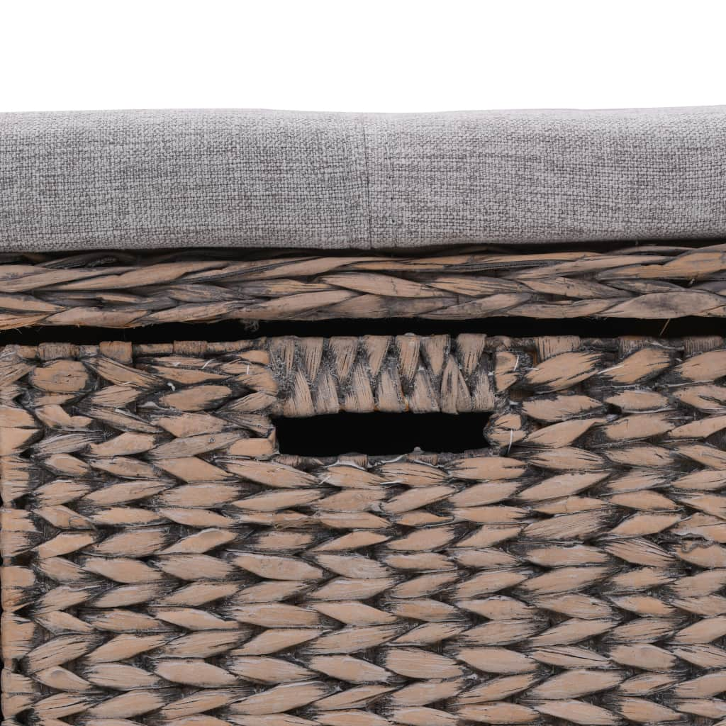 Bench with 3 Baskets Seagrass 105x40x42 cm Grey 7