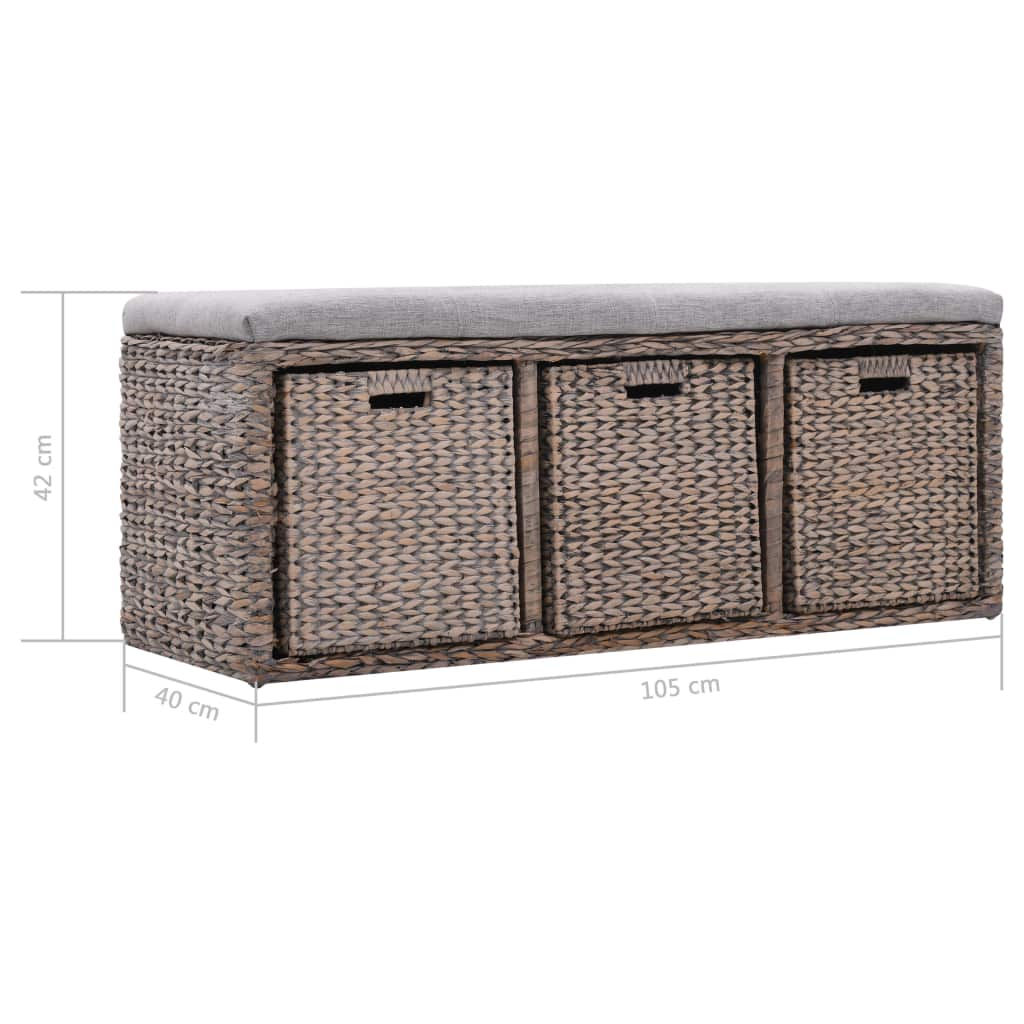 Bench with 3 Baskets Seagrass 105x40x42 cm Grey 9