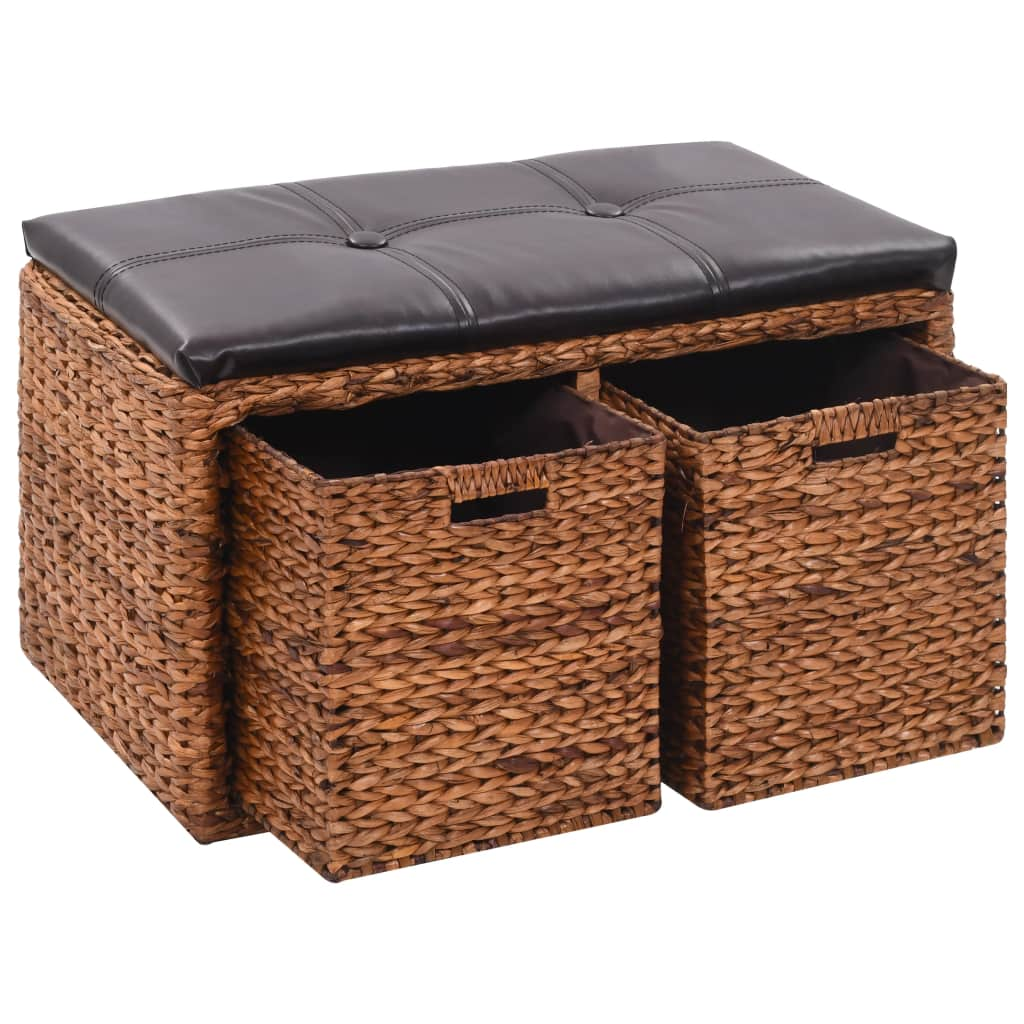 Bench with 2 Baskets Seagrass 71x40x42 cm Brown 1