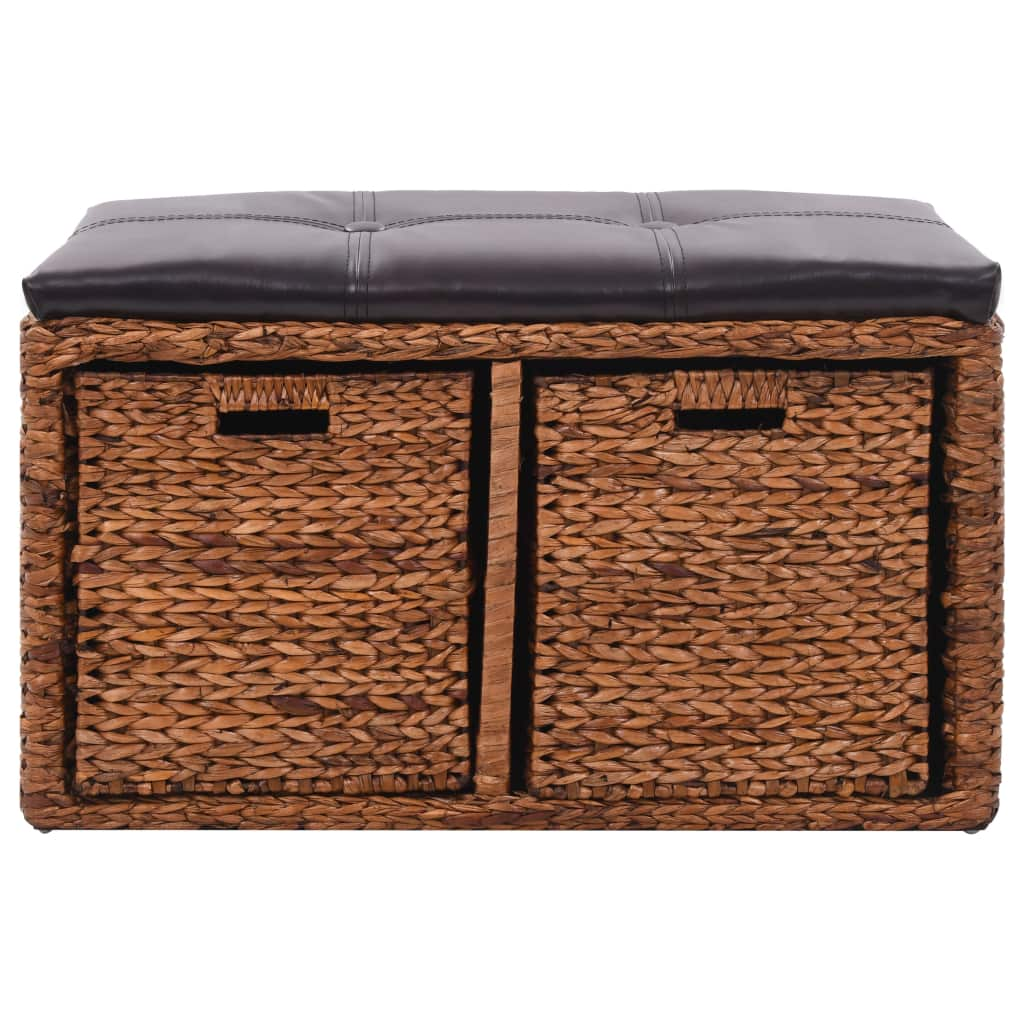 Bench with 2 Baskets Seagrass 71x40x42 cm Brown 3